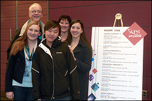 BioE junior Janina Vaitkus' (far right) and BioE sophomore Di Wu's (front, center) submitted work on cell behavior during inflammatory responses were accepted by the American Physical Society for presentation at its annual March Meeting, held in Boston, Ma. in 2012. Both undergraduates are members of Associate Professor Helim Aranda-Espinoza's Cell Biophysics Laboratory.