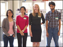 Left to right: ResearchFest winners Janet Hsu, Chia-Ying (Winnie) Chiang, Amy Marquardt, and Neville Fernandes.