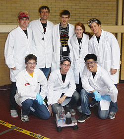 Team Thirsty Turtles at the mid-Atlantic Chem-E Car competition with their vehicle, The Pride of Maryland. Back row: Trae Vanaskey, Weston Breda, Lucas Hedinger, Amy Nutis, and Nick Lepak. Front row: Kevin Bates, Issac Zaydens, and Wesley Yan. Not pictured: Whitney Hollinshead, Dao Huang, and Leslie Mok.