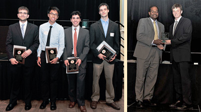 Left: Department award winners (left to right) Doug Trigg, Steven Ramiro, Natan Aronhime, and Eric Epstein. Right: Dean Pines presents the Dinah Berman Memorial Award to Nicholas Weadock. Photos by Al Santos.