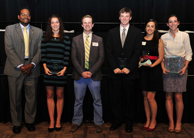 Dean Darryll Pines with the Clark School's award recipients.