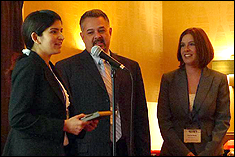 L to R: Preeti Chauhan, John Lucero, Chairman, MFPT Board of Directors, and Rachel Moss, CEO GasTOPS