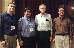 Past and current members of the Calabrese Group at NAMF 2012. Left to right: Justin R. Walker (Ph.D. '12), Gustavo A. Padron (M.S. '01, Ph.D. '05), Professor Richard V. Calabrese, and this year's NAMF Student Award winner, Paul E. Rueger. Walker and Padron have also won the award.