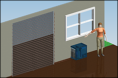 A computer simulation of the complete air conditioning system mounted in a house.