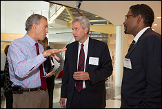 UM CERSI Co-Director Dr. William Bentley (middle) and Clark School Dean Dr. Darryll Pines (right) speak with FDA Chief Scientist Dr. Jesse Goodman (left).