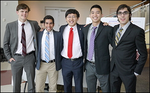 From left, Wesk Medical team members Stephen Robinson, Esmaeel Paryavi, Kaiyi Xie, Bernard Wong and Walter Beller-Morales celebrate capturing first place in the Fischell Department of Bioengineering 2012 Capstone Design Competition.