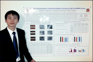 ChBE graduate student and Liu Group member Yiqing Wu with his poster.