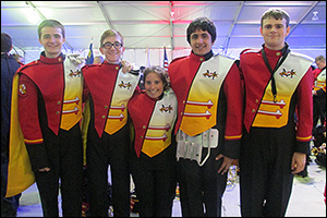 MSE students in the staging area for the 57th Presidential Inaugural Parade in January 2013. Left to right: Ben Stackhouse (trumpet), Louis Levine (trumpet), Zara Simpson (cymbals), Raj Bajwa (snare drum), and Drew Stasak (Saxophone).