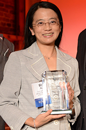 Professor Min Wu receives a 2012 Innovator of the Year award from The Daily Record at the American Visionary Art Museum.