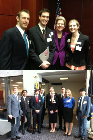 Top: UMD Chapter Members Greg Hitz, Alex Kozen, and Ashley Lidie Meet with Sen. Elizabeth Warren (MA) to discuss stability of science R&D funding.Bottom: Group shot before meeting with Sen. Benjamin Cardin (MD)