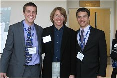 Astronaut and judge Sandra Magnus with UMD's AIAA chapter Vice Chair Matt Rich and Chair Mike Hamilton.