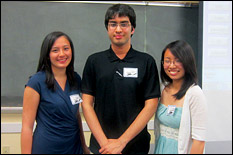 Sophomore bioengineering major Joan Zhang (right) with teammates Elisa Escapa (left) and Neelnavo Kar (center).