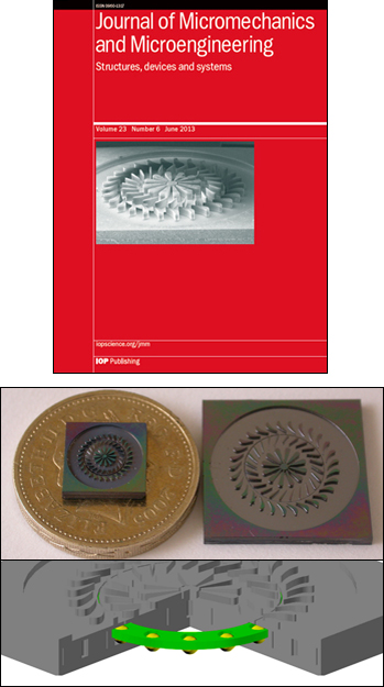 Above: The research is the cover article of the June 2013 Journal of Micromechanics and Microengineering. Below: Photographs of both the 5 mm and 10 mm devices with a British Pound coin for scale (top), and a cutaway view of the device showing the retainer ring (bottom).
