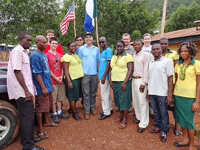 The UMD MDSE team with residents of Calaba Town, Sierra Leone