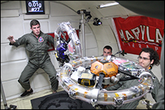 RINGS achieved the first and only successful demonstration of EMFF in full six degrees of freedom to date. Pictured, graduate student Dustin Alinger (left) and RINGS on board NASA's reduced gravity airplane. (Link to hi-res image)