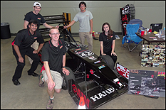 Left to right, mechanical engineering studentsSahil Kulgod, Carl Gunter, Alek Williams, Evan Reese and Emily Posey