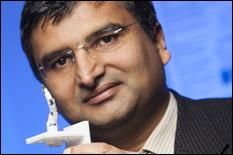 Prof. Jaydev Desai and the Minimally Invasive Neurosurgical Intracranial Robot (NIMIR) prototype.