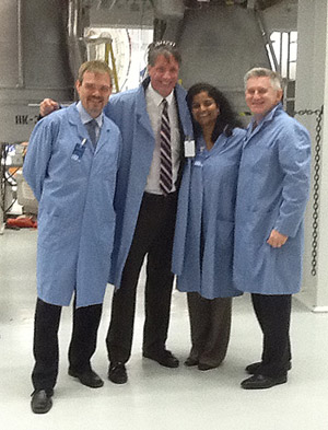 University of Maryland visitors from the Division of Research, from left to right: Ted Knight, Brian Darmody, Gayatri Varma, and Patrick O'Shea.