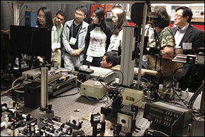 Conference guests tour the Biophotonic Imaging Laboratory.