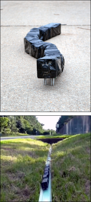 Above: R2G2 moves on a concrete surface. Below: The robot can travel up inclines, here on a narrow track barely wider than R2G2 itself.