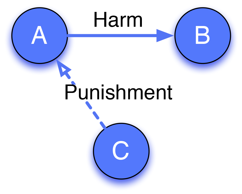 Third-party punishment: A harms B, but is punished by C, an uninvolved third party.