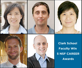 Top row: Dr. Baoxia Mi (left), Dr. Stanislav Stoliarov (center) and Dr. Dongxia Liu (right)Bottom row: Dr. Michael Rotkowitz (left) and Dr. Christopher Jewell (center)