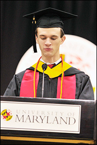 BioE student David Peeler (B.S. '13) delivering the student address at the Clark School's 2013 Winter Commencement. Photo by Alan P. Santos.