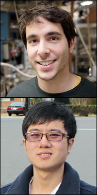 MSE graduate studens Elliot Bartis (top) and Jiayu Wan (bottom).