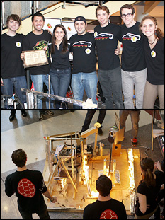 Above: Team FPE. Below: Flames make their way through the device, triggering various actions along the way.