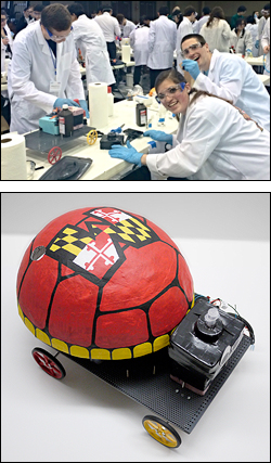 Above: Thirsty Turtles team members preparing Testudo Mobile, their Chem-E Car, for competition. Below: Testudo Mobile.