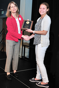 ChBE professor and chair Sheryl Ehrman (left) congratulating Marta Cherpak. Photo by Alan P. Santos.