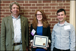 Dr.Jane Cornett (Ph.D. '13, materials science and engineering) at the awards ceremony. Left: MSE Professor and Chair Robert M. Briber. Right: MSE Associate Professor Oded Rabin.