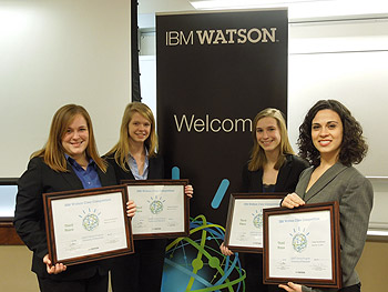 From left: Allison Thompson (aerospace engineering), Caitlin Myers (civil and environmental engineering), Eileen McMahon (mechanical engineering), and Hannah Breakstone (international business/supply chain management).