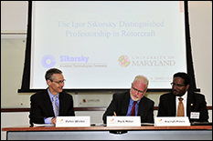 (L-R) VP of University Relations Peter Weiler, Sikorsky VP of Research & Engineering Mark Miller, and Clark School Dean Darryll Pines