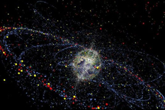 A computer simulation from the European Space Agency shows the movement of space debris at present and in the future.  (Photo: AP FILE)