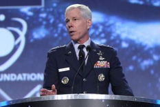 Eyes on Debris: Gen. William Shelton, head of US Air Force Space Command, addresses the 30th Space Symposium in Colorado Springs, Colorado. Shelton has warned of the need for more tracking of space objects. (Space Foundation photo)