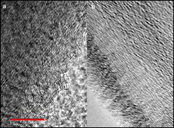 Transmission electron microscopy images of pristine graphite (left) and expanded graphite (right). The scale bar is 10 nanometers.