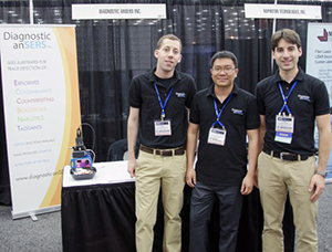 The Diagnostic anSERS entrepreneurs at SPIE DSS 2014. L-R: Sean Virgile, Wei Yu, Eric Hoppmann.