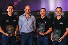 Eric LaRoche (B.S., '14), second from right, secures a 12-month dream job with Infiniti Red Bull Racing.Photo courtesy of Infiniti Red Bull Racing.