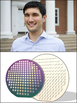 Above: Sean Fackler. Below: In a search for rare-earth free permanent magnets, Fackler and the Takeuchi Group fabricate combinatorial libraries in which iron, cobalt and vanadium compositions vary over a 3 inch silicon wafer. The actual combinatorial wafer is in front and behind it are the magnetic hysteresis loops superimposed over each sample position. One can easily find the areas of interesting magnetic properties based on the wide shape of the hysteresis loops. This combinatorial method allows rapid exploration of new materials making discovery and application in commercial markets faster.