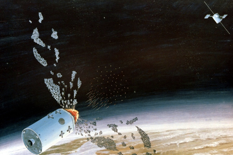 An artist's conception of a Soviet anti-satellite weapon destroying a satellite in 1984. (Defense Department Photo)