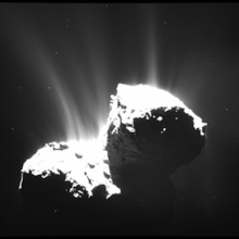 The wide-angle camera of Rosetta's OSIRIS instrument took this image on Nov. 22, 2014, at a distance of 30 kilometers from Comet 67P/Churyumov-Gerasimenko. The image resolution is 2.8 meters per pixel. The nucleus is deliberately overexposed in order to reveal the faint jets of activity. Photo: ESA/Rosetta/MPS for OSIRIS Team