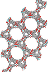 MOF of zirconium nodes and tetracarboxylic-pyrene linkers, with curved pores for catalytic conversion