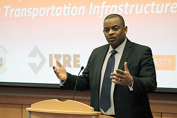 United States Secretary of Transportation Anthony Foxx speaking to the ITRE at NC State University