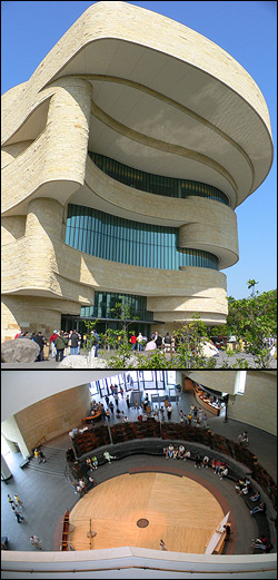 The National Museum of the American Indian. Top photo by Raul654. Lower photo by Quadell. Thumbnail photo by D.B.King.