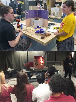 Above: ESHS students building their model home. Below: One of the model homes is subjected to a burn test in FPE's Rolf Jensen and Associates Fire Science Laboratory.