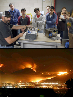 Above: Dan Jimenez from the U.S. Forest Service joined Professor Gollner's Wildland Fires class to demonstrate wildfire deployment packages, sensor-loaded cases used to collect information in real wildfires. Below: A fire aproaches the wildland-urban interface in San Diego, Ca.