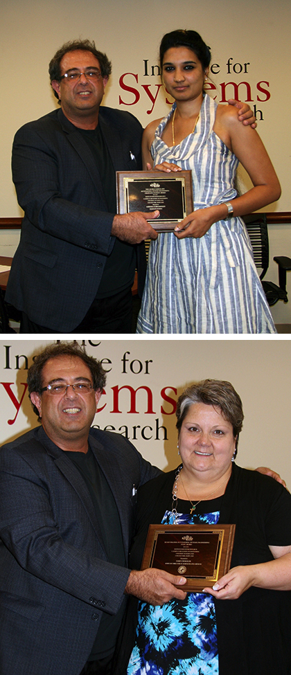 Sowmya Subramanian (top photo) and Dawn Wheeler receive their awards from ISR Director Reza Ghodssi.