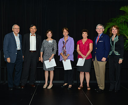 From left to right: Prof. Ben Shneiderman, President Wallace Loh, Prof. Rebecca Ratner, Prof. Nancy Gallagher, Prof. Karen Lips, VP for Research Patrick O'Shea, and Provost Mary Ann Rankin. Not pictured: Prof. Jennifer Golbeck