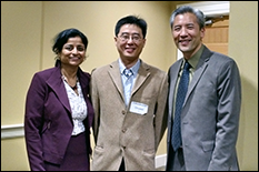 Best Pitch Winner Shuwei Li (center) with Office of Technology Commercialization Executive Director Gayatri Varma and UMD Associate Vice President for Innovation & Entrepreneurship Dean Chang.